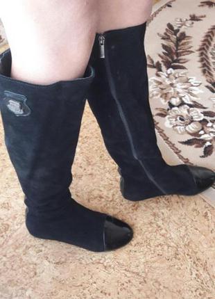 Замшевые ботфорты с лаковым носком 37 размер