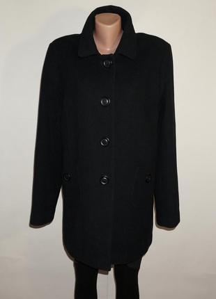 Пальто шерстяное чёрное классическое