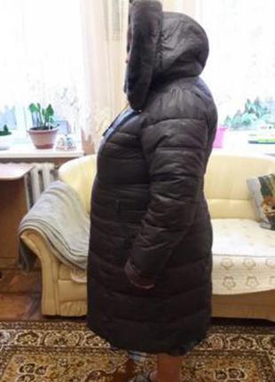 Пальто зимнее баклажанового сиреневого цвета холофайбер размер 58 - 60