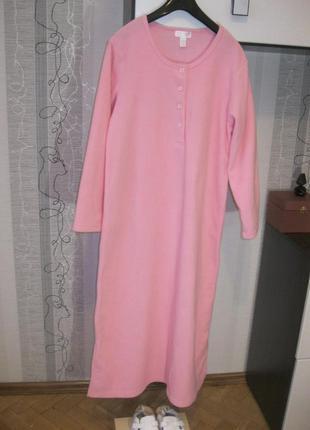 Теплое ночное дневное пудровое платье макси ночнушка халат зефир м-л-хл 44 46 48