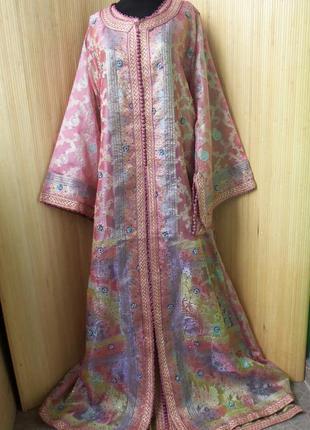 Роскошное нарядное длинное платье  кафтан двойка расшитый бисером и пайетками m/xl