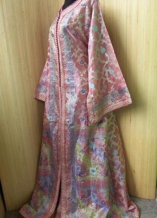 Роскошное нарядное длинное платье  кафтан двойка расшитый бисером и пайетками m/xl2