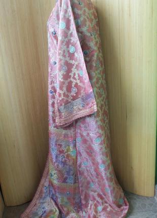 Роскошное нарядное длинное платье  кафтан двойка расшитый бисером и пайетками m/xl3