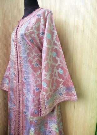 Роскошное нарядное длинное платье  кафтан двойка расшитый бисером и пайетками m/xl4