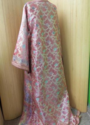 Роскошное нарядное длинное платье  кафтан двойка расшитый бисером и пайетками m/xl5
