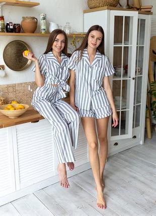 Комплект тройка, домашний костюм рубашка, шорты, штаны, піжама трійка, полосата піжама