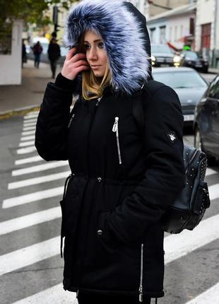 Зимняя куртка парка на овчине черная,р.42-52