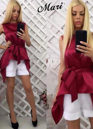 Костюм атласная блуза под пояс и шорты.  распродажа
