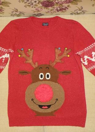 Новогодний свитер next с оленем, унисекс