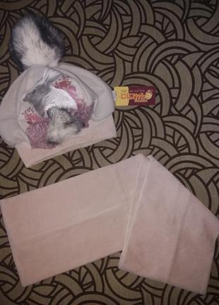 Шапка берет и шарф комплект 50 см шикарный