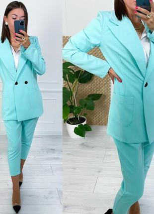 Женский костюм с брюками двойка классика
