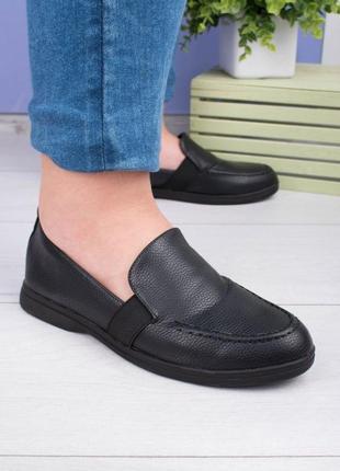 Стильные черные туфли балетки лоферы низкий ход
