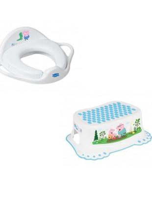 """Комплект накладка на унітаз м'яка, підставка для ніг """"свинка пепа джорж"""" (tega baby)"""