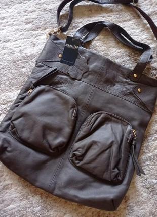 Кожаная сумка-шопер с накладными карманами