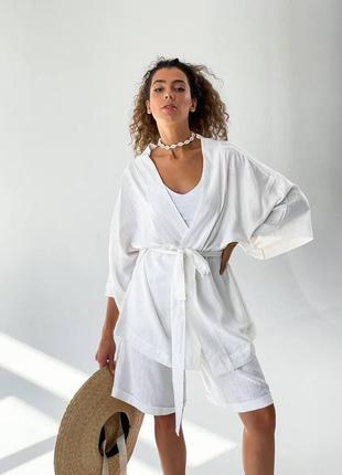 Льняной костюм кимоно и шорты/ штаны + топ