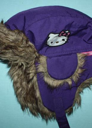 Зимняя шапка-ушанка хеллой китти на ребенка от 3 до 6лет в отличном состоян