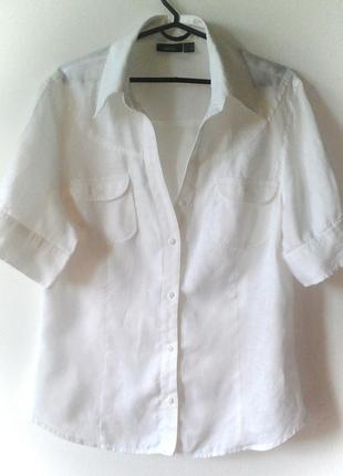 Качественная льняная блуза белая  40 / l