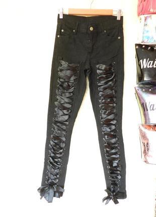 ✅ классные эксклюзивные джинсы шнурованые лентами из атласа
