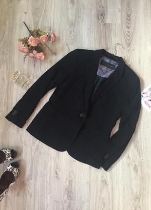 Чёрный трикотажный пиджак из вискозы zara