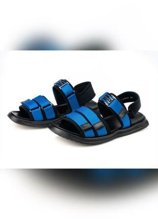 Сандалии мужские shteng спортивные кожаные на липучках цвет синий электрик