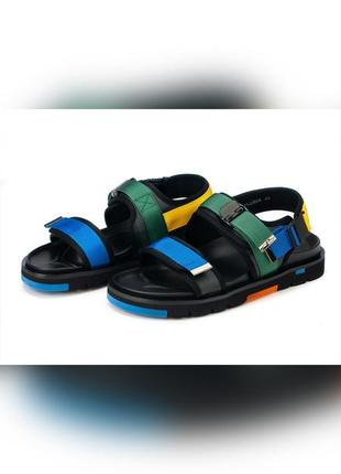 Босоножки мужские спортивные кожаные на липучках