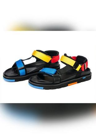 Босоножки мужские кожаные на липучках цветные