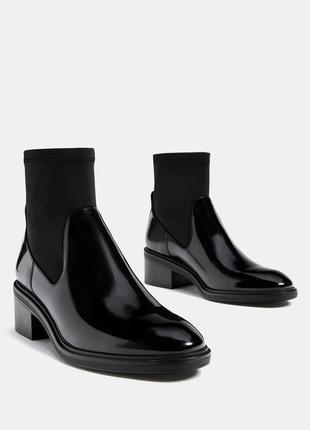 Лаковые лакированные полусапожки ботинки броги bershka бершка