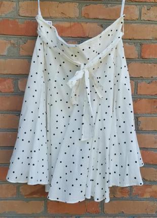 Роскошная хлопковая юбка в горошек