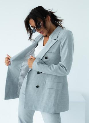 Серый пиджак жакет двубортный over size на подкладке street style