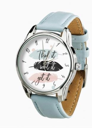 Голубые часы , часы с рисунком , наручные часы , женские часы , часы с широким циферблатом