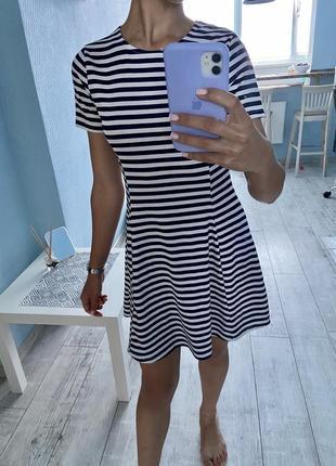 Летнее , стильное платье в полоску