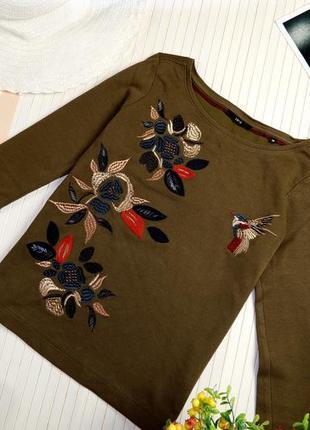 Роскошный реглан свитер люкс бренда zero хаки с вышивкой кофта эксклюзив тренд