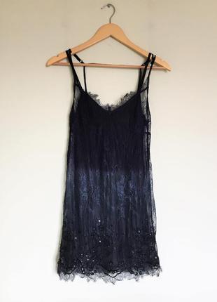 Кружевное платье diesel в бельевом стиле с бисером, пайетками xs/s омбре