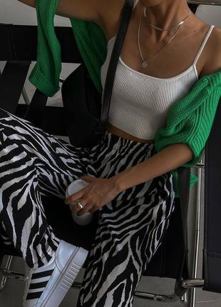 Штаны кюлоты принт зебра