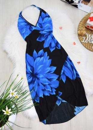 Платье цветочное на запах сарафан ассиметричный красивый принт синие цветы