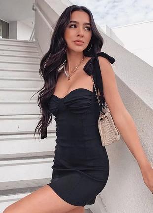 Платье платья сукня с имитацией бра на завязках вверху модное трендовое стильное красивое чёрное черное чорне сексуальное