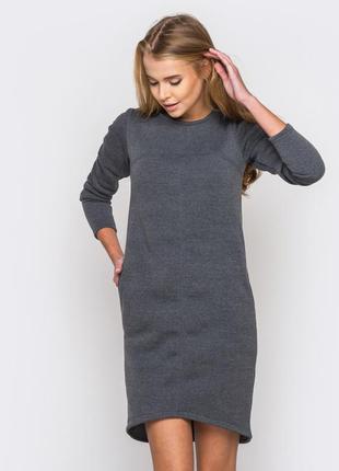 Теплое платье, трикотаж на флисе
