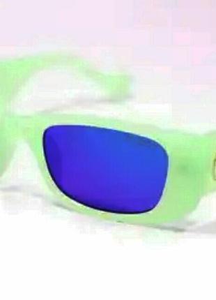 Gucci очки унисекс солнцезащитные модные узкие салатовые линзы голубые зеркальные