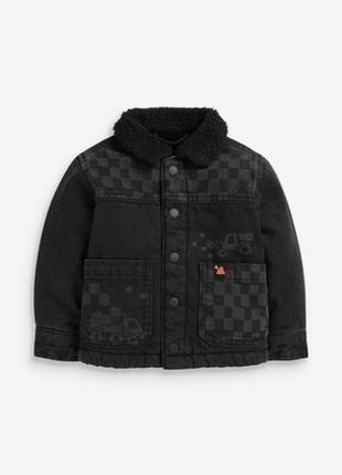 Джинсовая куртка next черная для мальчика