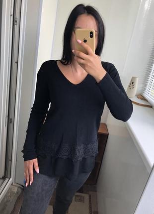 Чёрная шикарная кофта пуловер свитшот реглан джемпер