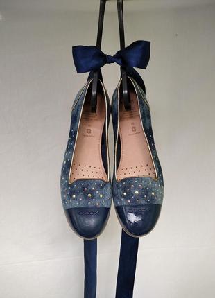 Туфли 39-40 р. (25,5 см) geox на низком ходу / мокасины / джинсовые балетки geox / джинсові туфлі джеокс