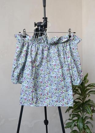 Хлопковая блузка с открытыми плечами benetton