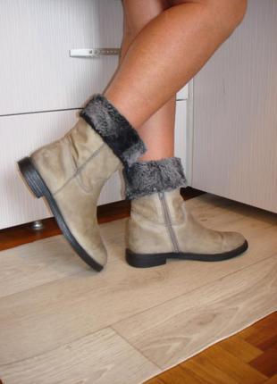 Кожаные, утепленные полусапожки (ботинки) бренда next, р.40