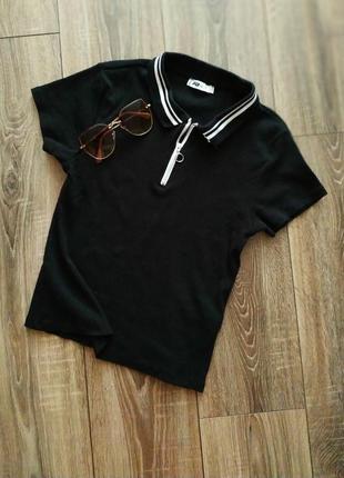 Fb sister футболка polo черная в мелкий рубчик