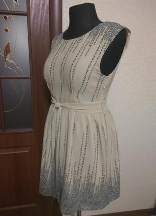 Новое шифоновое кремовое платье на подкладке, р-р xl