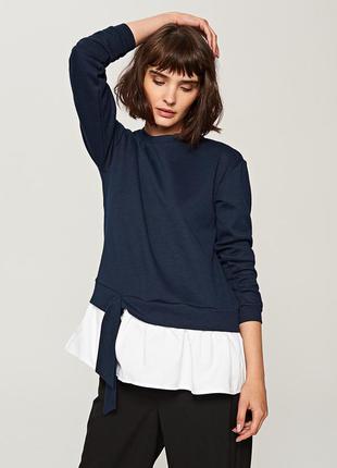 Xs-xl стильная кофта свитер толстовка свитшот синий с белой рубашкой и завязкой внизу