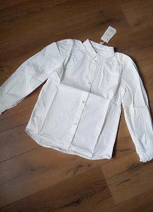 Белая красивая блуза mango для девочки 11-12 лет