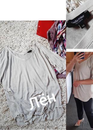 Базовая бежевая льняная блуза/футболка,  stefan strauss,  p14-16