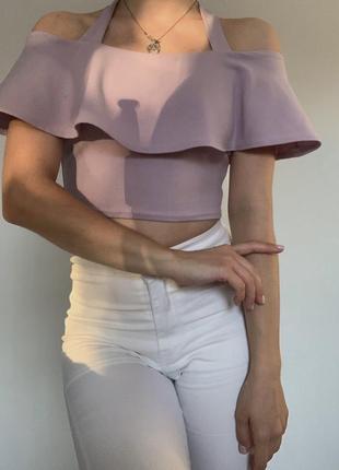 Женский топ лилового цвета на плечи/жіночий топ