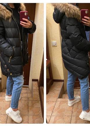 Пуховик куртка philipp plein мех енот